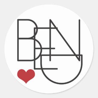 Bend Oregon Word Heart Logo Round Sticker