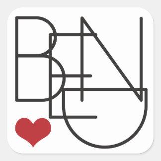 Bend Oregon Word Heart Logo Square Sticker