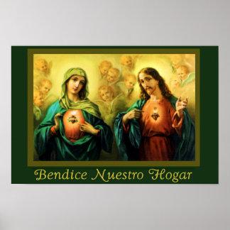 Bendicion del Hogar Jesus & Virgen Spanish Poster