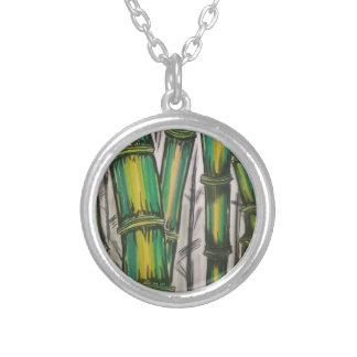 Bending Strength Bamboo by Michael David Silver Plated Necklace