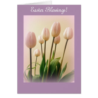 Bénédictions de Pâques avec des tulipes de ressort Carte De Vœux