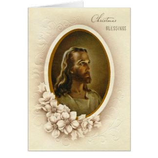 Bénédictions vintages de Noël de Jésus Carte De Vœux