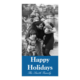 Beneficently Influential Blue Color Customizable Customized Photo Card