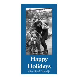 Beneficently Influential Blue Color Customizable Personalized Photo Card