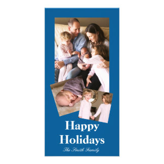Beneficently Influential Blue Color Customizable Picture Card