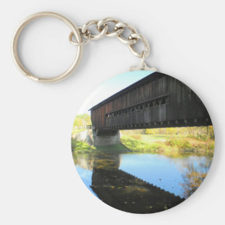 Benetka Road Covered Bridge Ashtabula County Ohio Basic Round Button Keychain