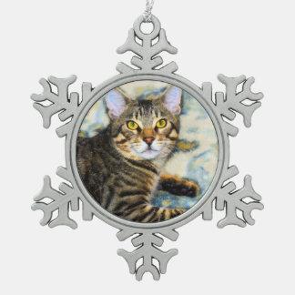 Bengal Cat Art Snowflake Pewter Christmas Ornament