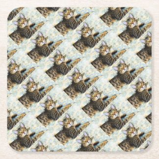 Bengal Cat Art Square Paper Coaster