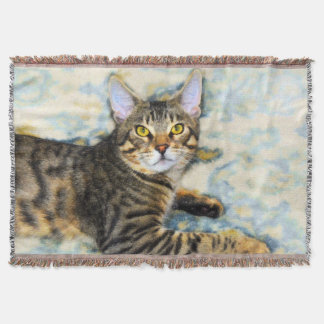 Bengal Cat Art Throw Blanket