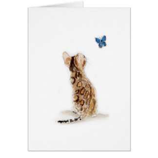Bengal Cat  & Butterfly Card