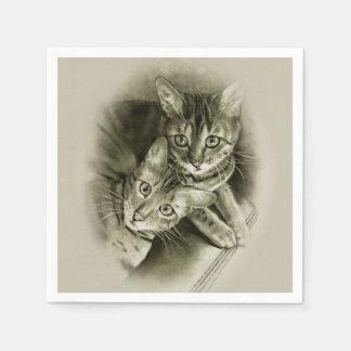 Bengal Cat Couple, Original Pencil Drawing Disposable Napkin