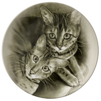 Bengal Cat Couple: Pencil Drawing Plate