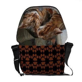 Bengal Cat Kiss Messenger Bags