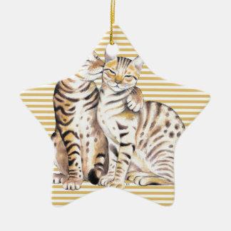Bengal Cats Ochre Stripes Ceramic Ornament