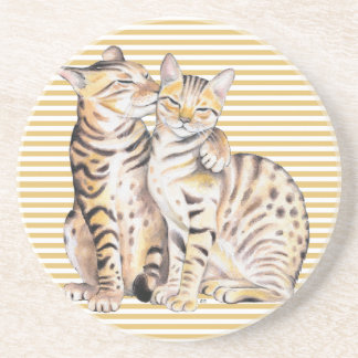 Bengal Cats Ochre Stripes Coaster