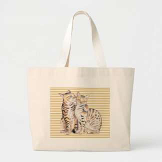 Bengal Cats Ochre Stripes Large Tote Bag