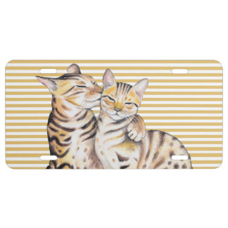 Bengal Cats Ochre Stripes License Plate