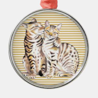 Bengal Cats Ochre Stripes Metal Ornament