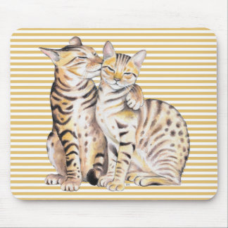 Bengal Cats Ochre Stripes Mouse Pad