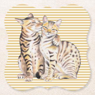 Bengal Cats Ochre Stripes Paper Coaster