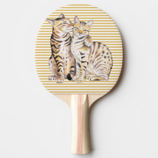 Bengal Cats Ochre Stripes Ping Pong Paddle