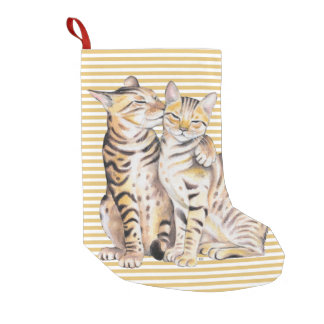 Bengal Cats Ochre Stripes Small Christmas Stocking