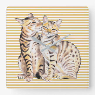 Bengal Cats Ochre Stripes Square Wall Clock