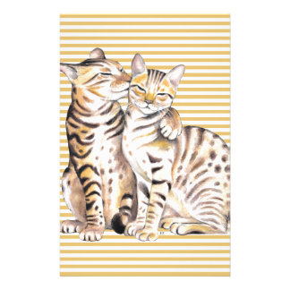 Bengal Cats Ochre Stripes Stationery