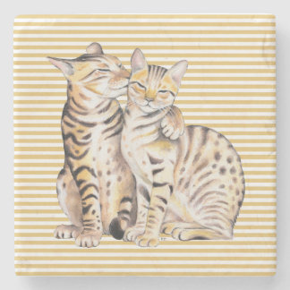 Bengal Cats Ochre Stripes Stone Coaster