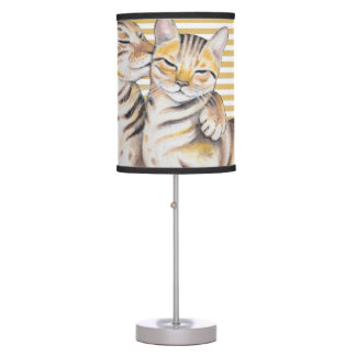 Bengal Cats Ochre Stripes Table Lamp