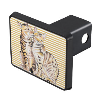 Bengal Cats Ochre Stripes Trailer Hitch Cover
