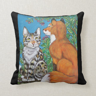 Bengal Kitten and Red Fox Kit Designer Pillow