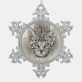 Bengal Kitten Drawing Snowflake Pewter Christmas Ornament