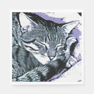 Bengal Kitten Nap Paper Napkin