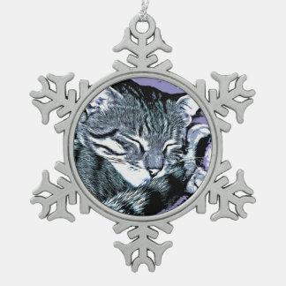 Bengal Kitten Nap Snowflake Pewter Christmas Ornament
