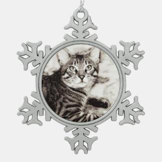 Bengal Photo Snowflake Pewter Christmas Ornament