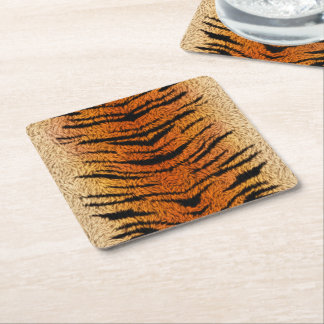 Bengal Tiger Animal Fur Square Paper Coaster