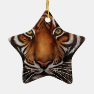 Bengal Tiger Animal Print Eye Ceramic Star Ornament