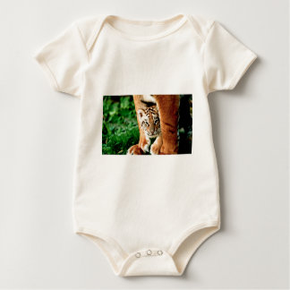 Bengal Tiger Cub Peers Out Baby Bodysuit