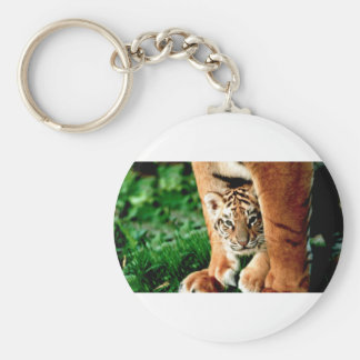 Bengal Tiger Cub Peers Out Keychain