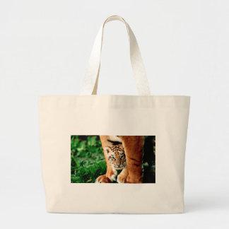 Bengal Tiger Cub Peers Out Large Tote Bag