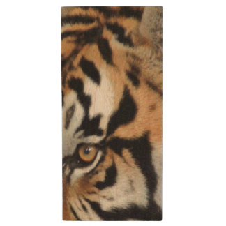 Bengal Tiger Eyes Double-Side | Nature Photography Wood USB 2.0 Flash Drive