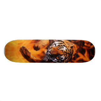 Bengal-Tiger-Jumping-Flames Skate Deck