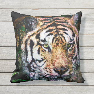 Bengal Tiger Mixed Media Outdoor Pillow