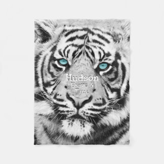 Bengal Tiger Personalized White Tiger Fleece Blanket