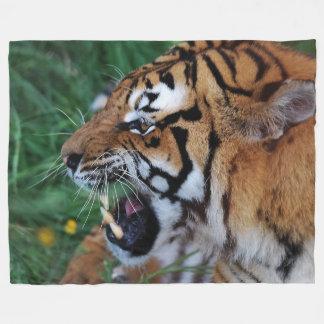 Bengal Tiger showing its fangs Fleece Blanket