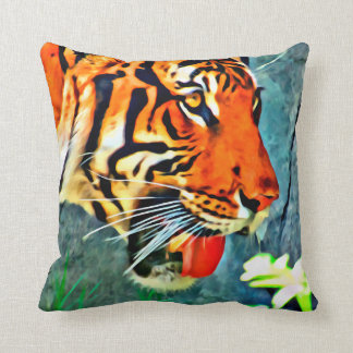 BENGAL TIGER Stylized Photo Print Throw Pillow