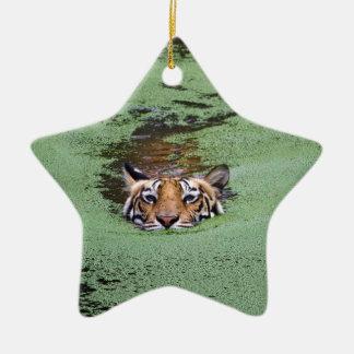 Bengal Tiger Swimming Ceramic Ornament