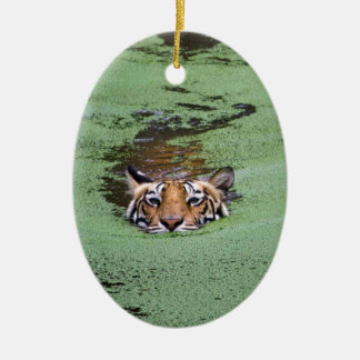 Bengal Tiger Swimming Ceramic Oval Ornament
