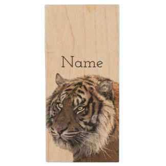 Bengal Tiger Wood USB Flash Drive